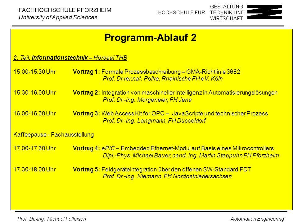 Programm-Ablauf 2 2. Teil: Informationstechnik – Hörsaal THB