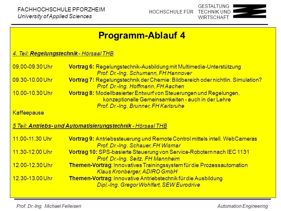 Programm-Ablauf 4 4. Teil: Regelungstechnik - Hörsaal THB