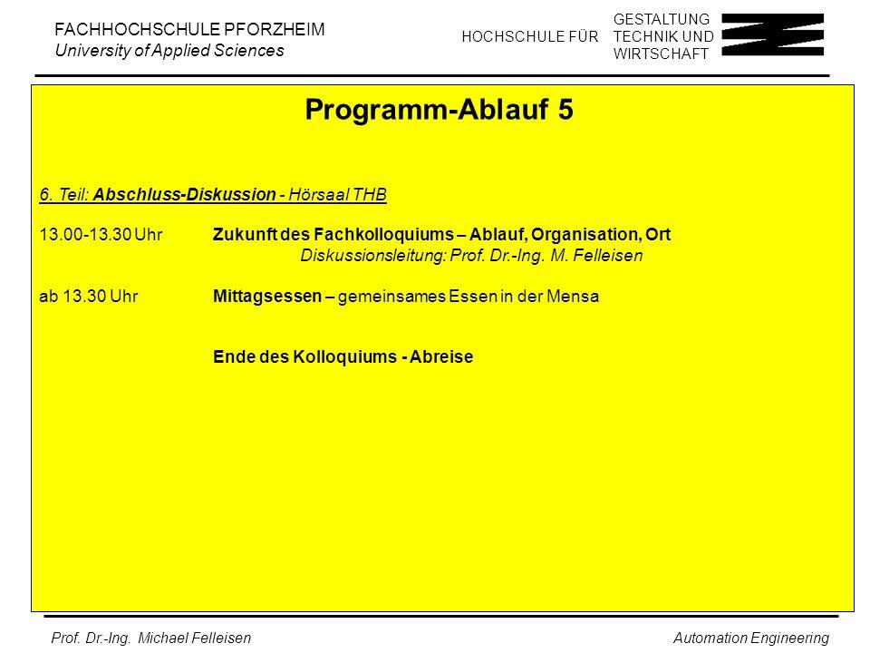 Programm-Ablauf 5 6. Teil: Abschluss-Diskussion - Hörsaal THB