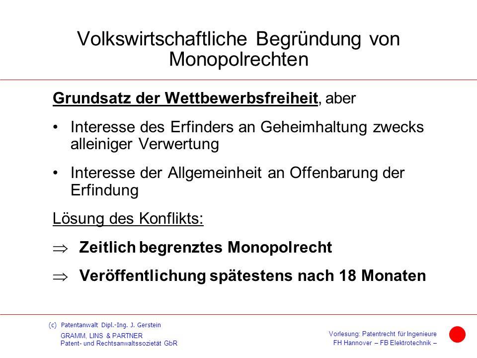 Volkswirtschaftliche Begründung von Monopolrechten