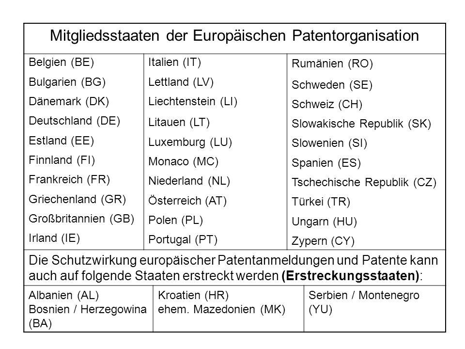 Mitgliedsstaaten der Europäischen Patentorganisation