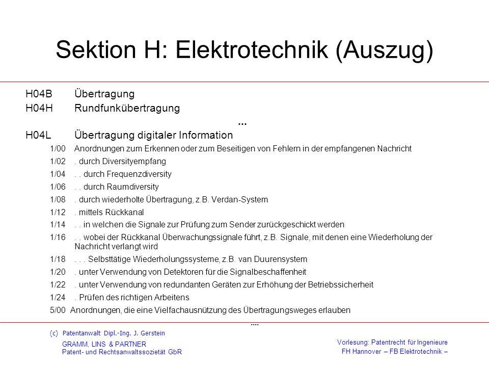 Sektion H: Elektrotechnik (Auszug)