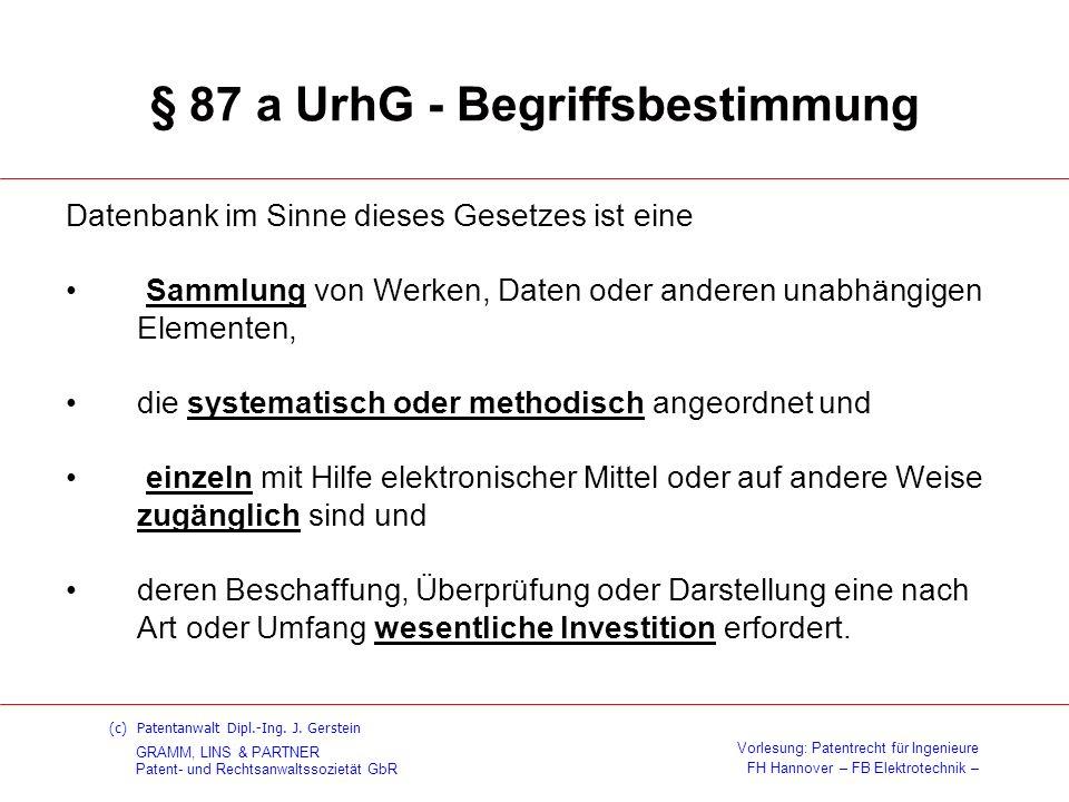 § 87 a UrhG - Begriffsbestimmung