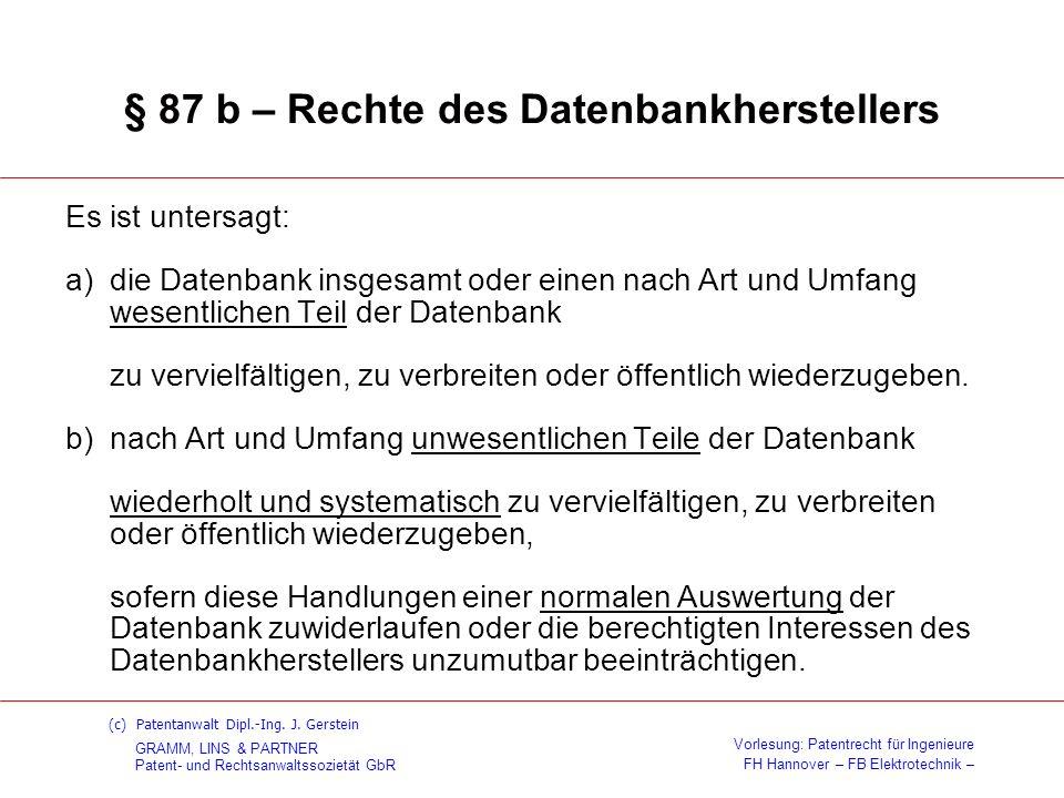 § 87 b – Rechte des Datenbankherstellers
