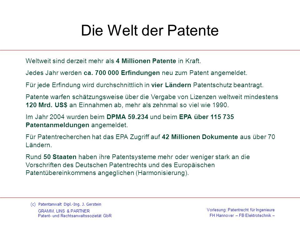 Die Welt der Patente Weltweit sind derzeit mehr als 4 Millionen Patente in Kraft.