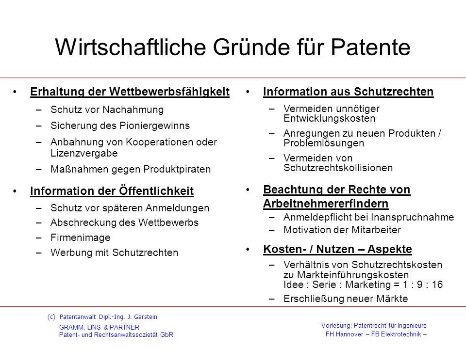 Wirtschaftliche Gründe für Patente