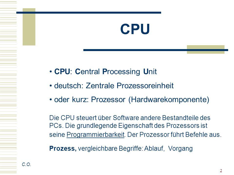 CPU CPU: Central Processing Unit deutsch: Zentrale Prozessoreinheit
