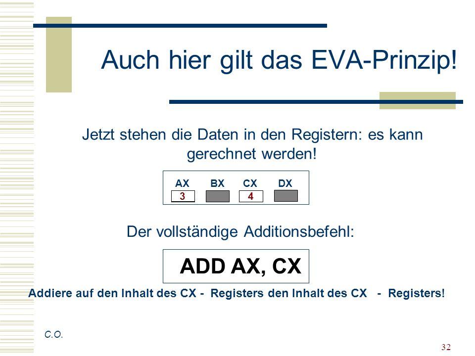 Auch hier gilt das EVA-Prinzip!