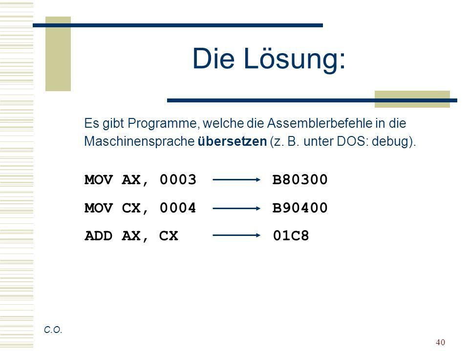 Die Lösung: MOV AX, 0003 B80300 MOV CX, 0004 B90400 ADD AX, CX 01C8