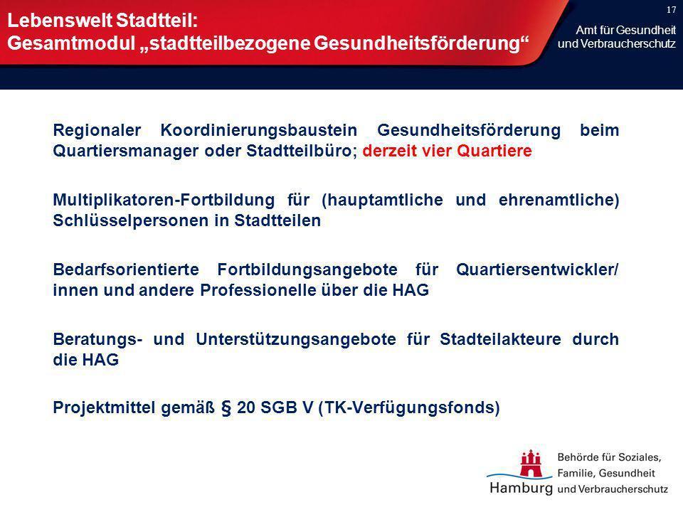 """Lebenswelt Stadtteil: Gesamtmodul """"stadtteilbezogene Gesundheitsförderung"""