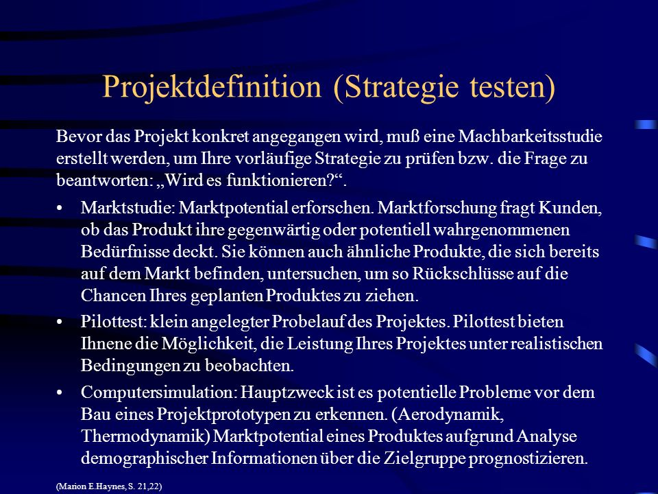 Projektdefinition (Strategie testen)