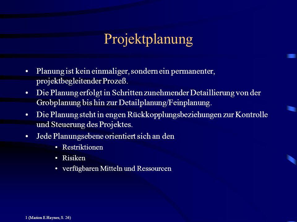 Projektplanung Planung ist kein einmaliger, sondern ein permanenter, projektbegleitender Prozeß.