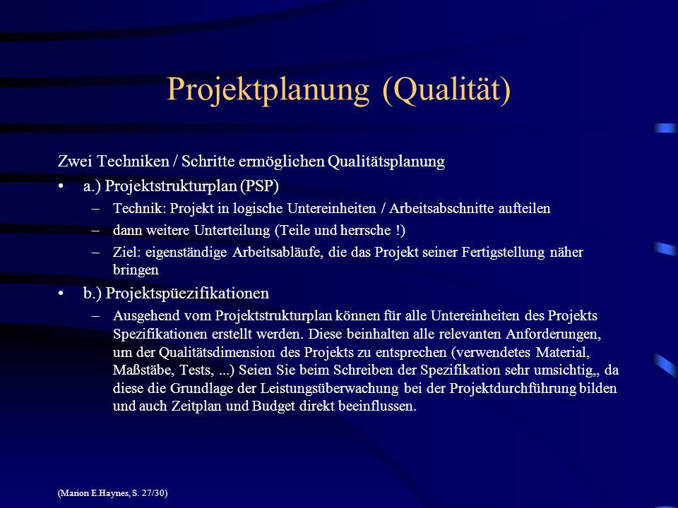 Projektplanung (Qualität)