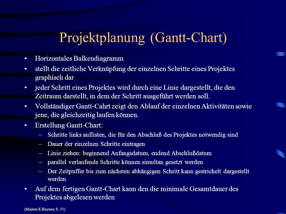 Projektplanung (Gantt-Chart)