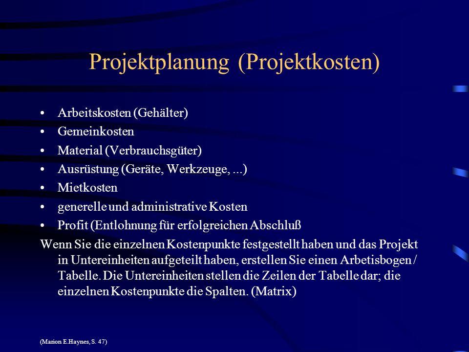 Projektplanung (Projektkosten)