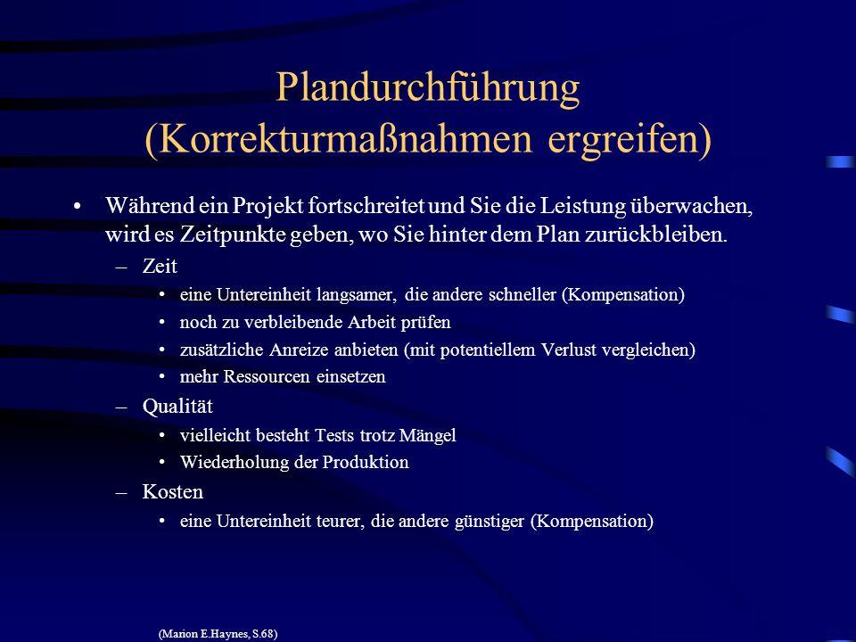 Plandurchführung (Korrekturmaßnahmen ergreifen)