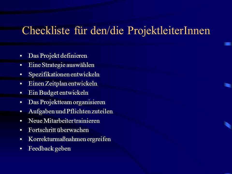 Checkliste für den/die ProjektleiterInnen