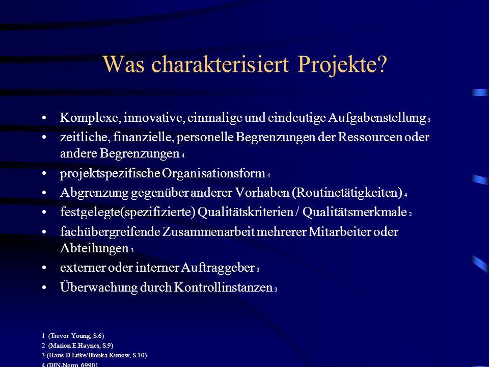 Was charakterisiert Projekte