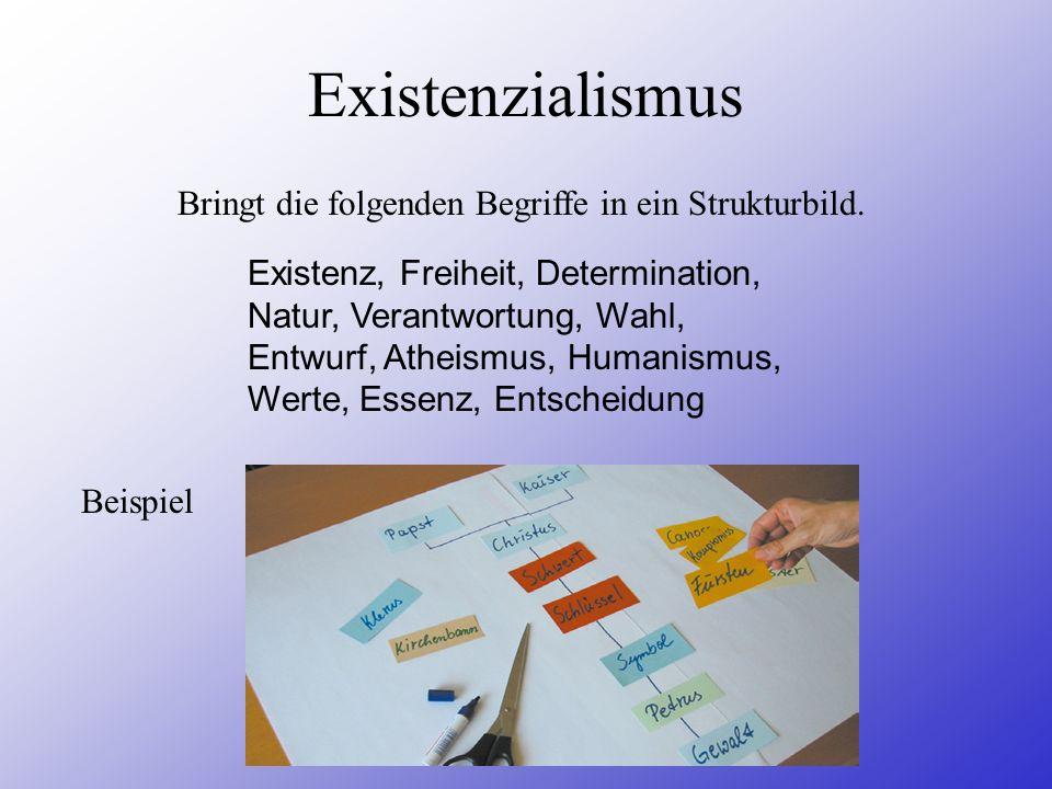 Existenzialismus Bringt die folgenden Begriffe in ein Strukturbild.