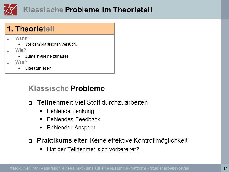 Klassische Probleme im Theorieteil