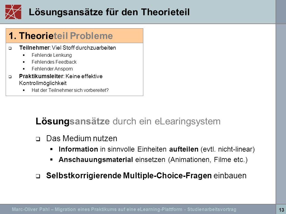 Lösungsansätze für den Theorieteil