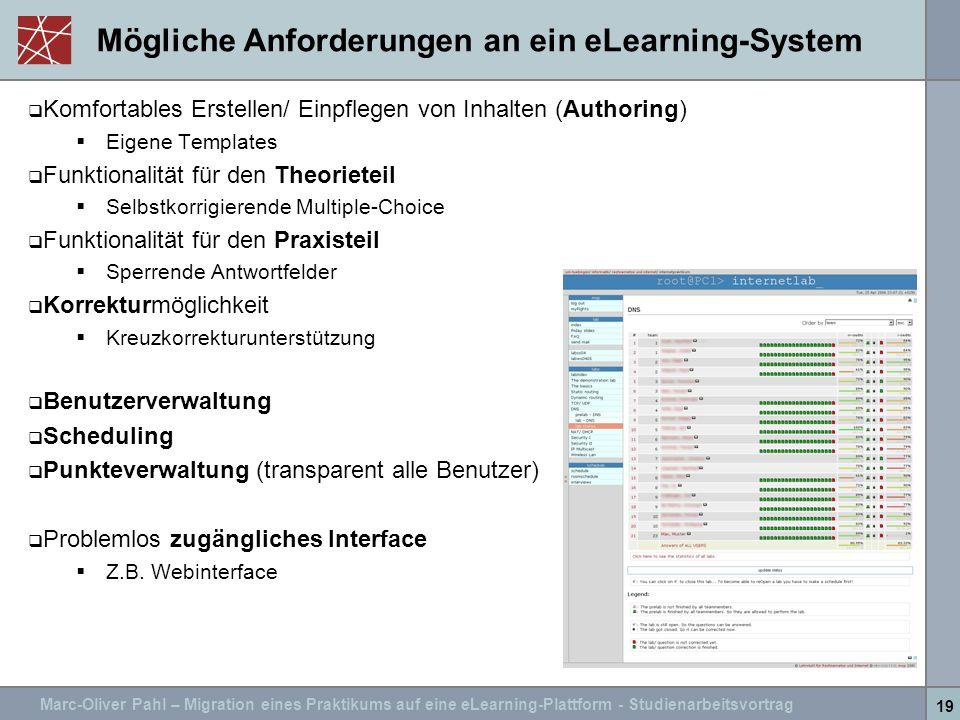 Mögliche Anforderungen an ein eLearning-System