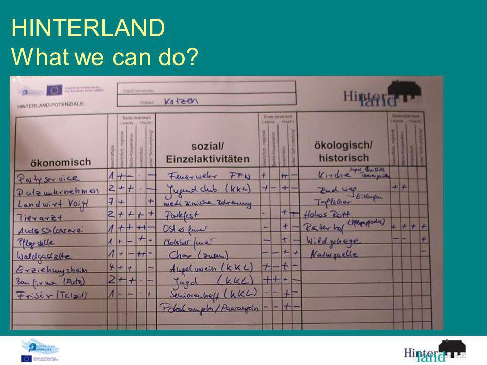 HINTERLAND What we can do