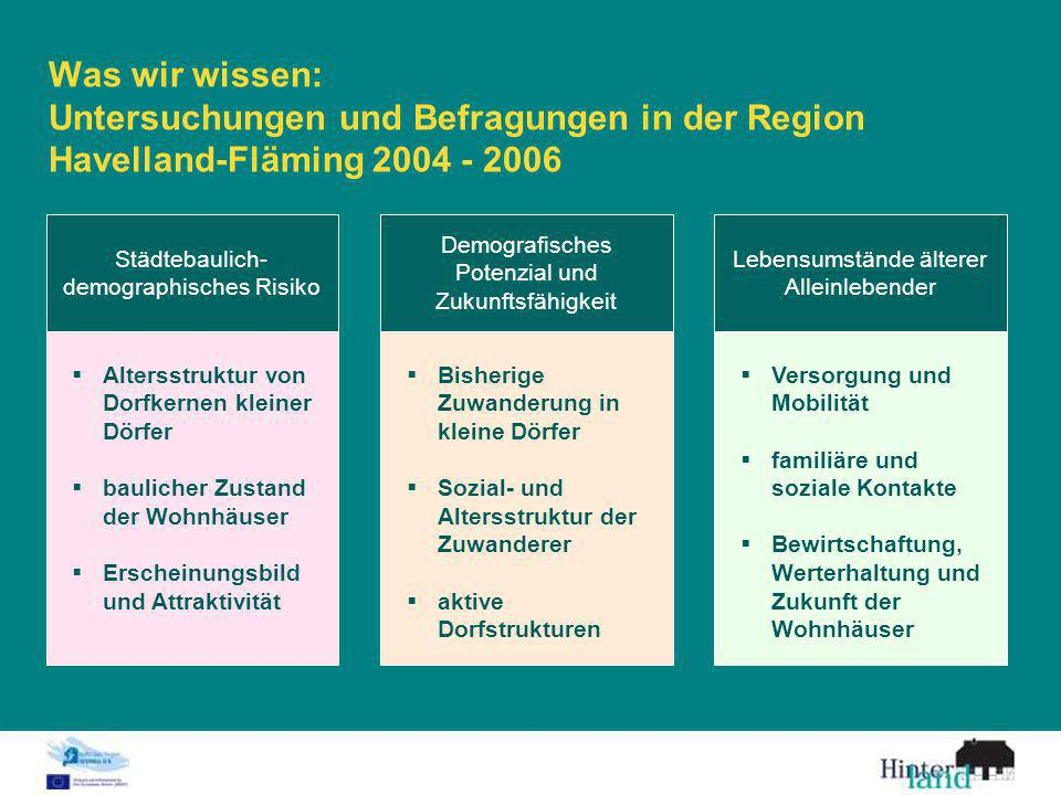 Was wir wissen: Untersuchungen und Befragungen in der Region Havelland-Fläming 2004 - 2006