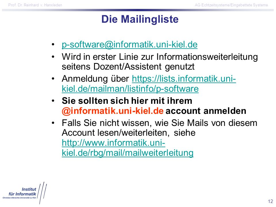 Die Mailingliste p-software@informatik.uni-kiel.de