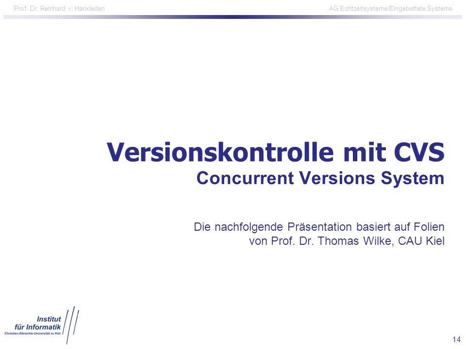 Versionskontrolle mit CVS Concurrent Versions System Die nachfolgende Präsentation basiert auf Folien von Prof.