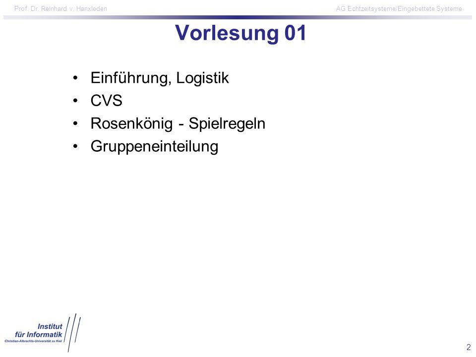 Vorlesung 01 Einführung, Logistik CVS Rosenkönig - Spielregeln