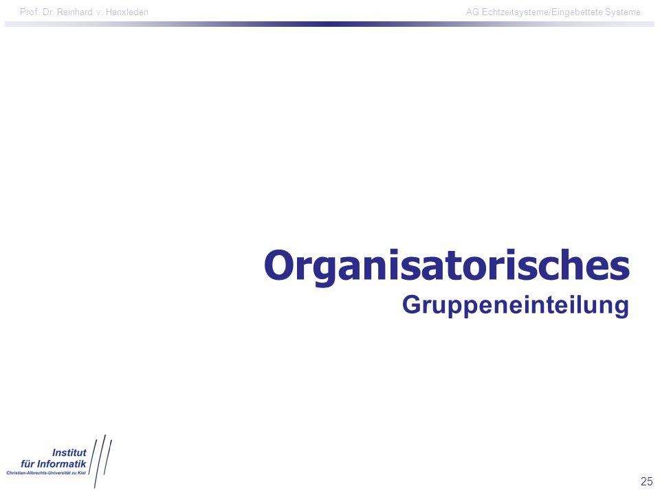 Organisatorisches Gruppeneinteilung