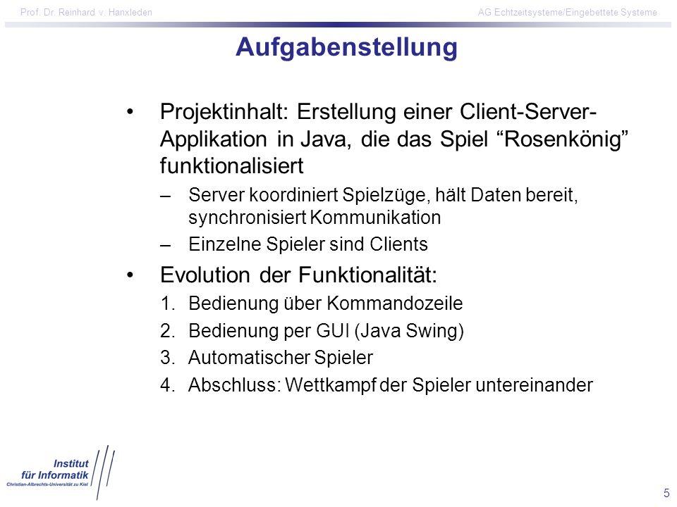 Aufgabenstellung Projektinhalt: Erstellung einer Client-Server-Applikation in Java, die das Spiel Rosenkönig funktionalisiert.