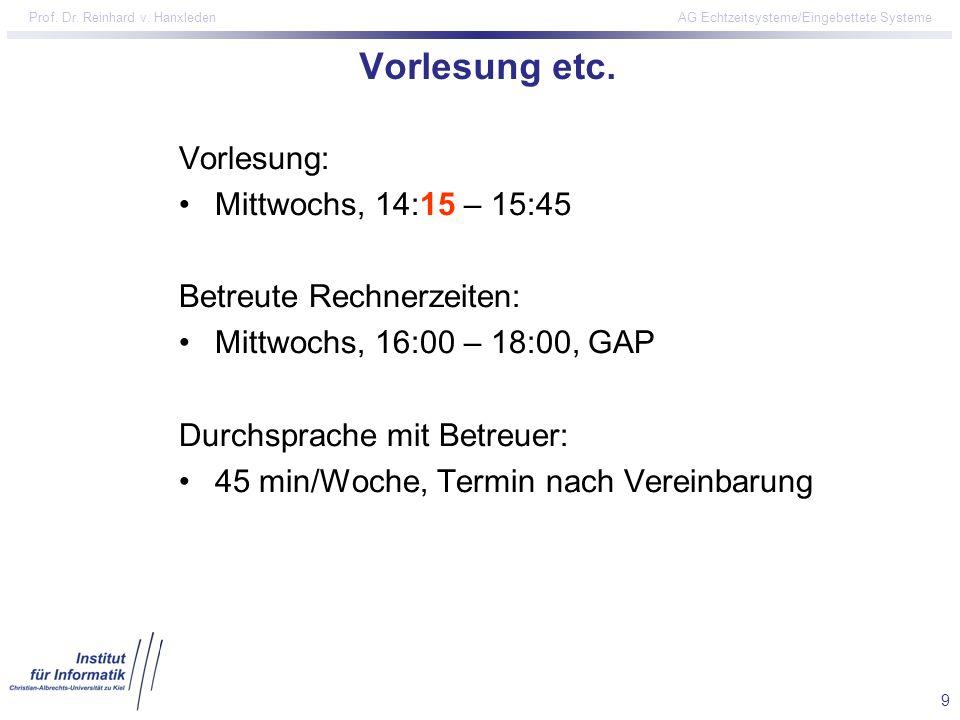 Vorlesung etc. Vorlesung: Mittwochs, 14:15 – 15:45