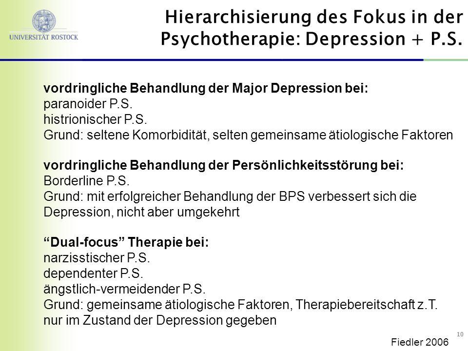 Hierarchisierung des Fokus in der Psychotherapie: Depression + P.S.