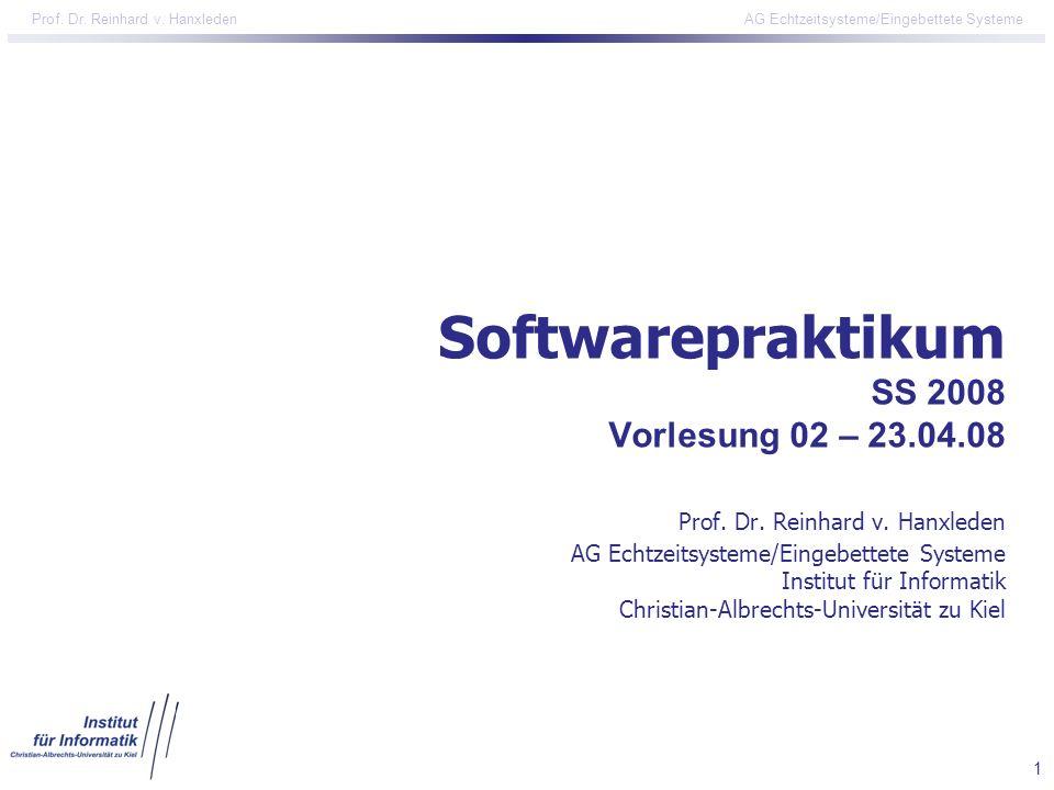 Softwarepraktikum SS 2008 Vorlesung 02 – 23. 04. 08 Prof. Dr