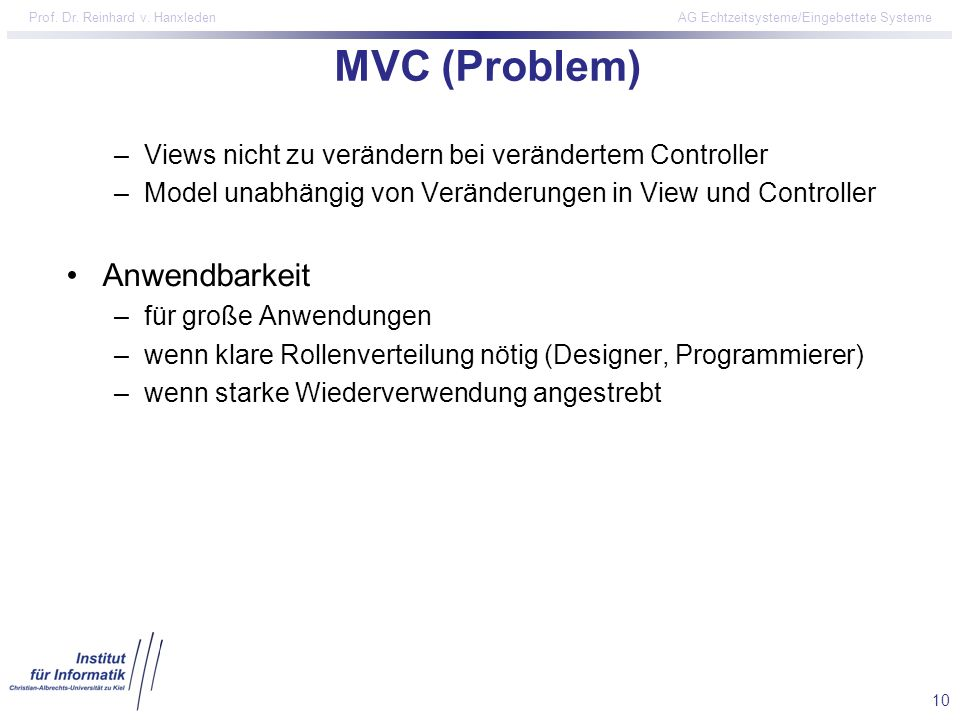 MVC (Problem) Anwendbarkeit