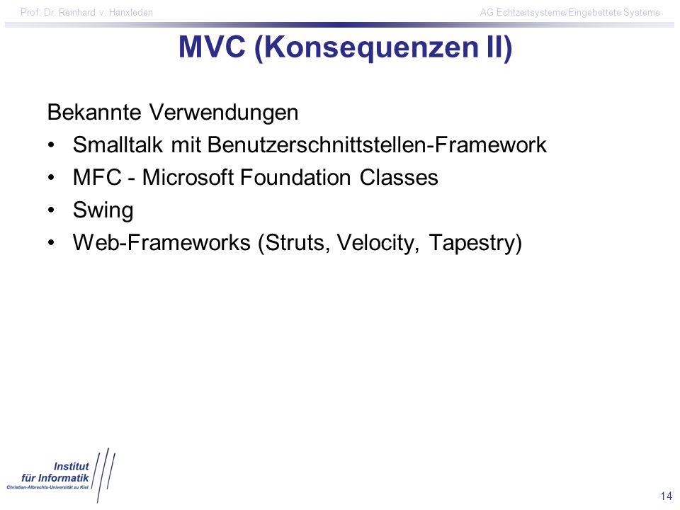 MVC (Konsequenzen II) Bekannte Verwendungen