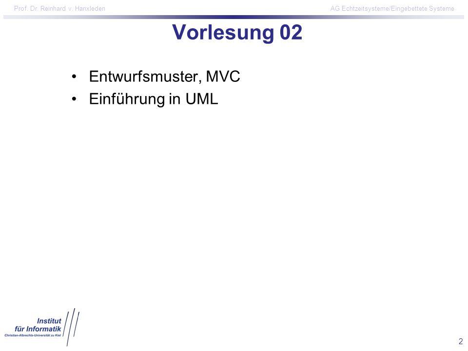 Vorlesung 02 Entwurfsmuster, MVC Einführung in UML