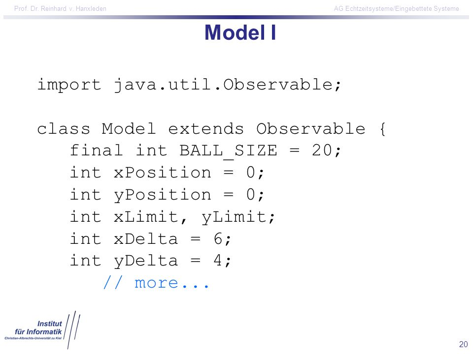 Model I import java.util.Observable; class Model extends Observable {