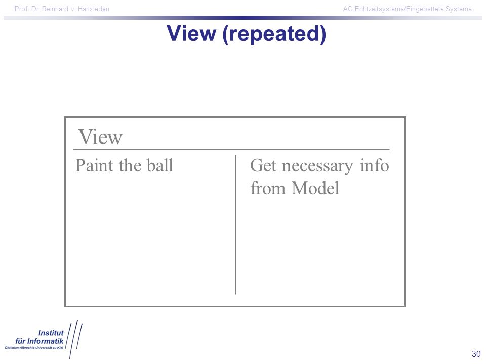 View (repeated) View Paint the ball Get necessary info from Model