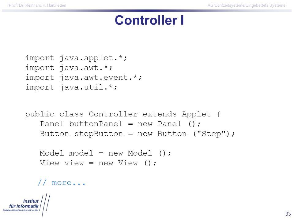 Controller I import java.applet.*; import java.awt.*;