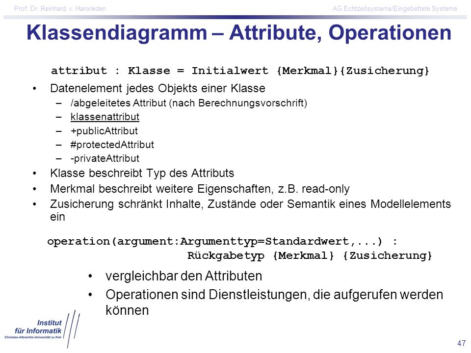 Klassendiagramm – Attribute, Operationen