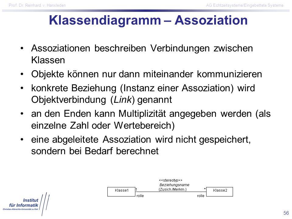 Klassendiagramm – Assoziation