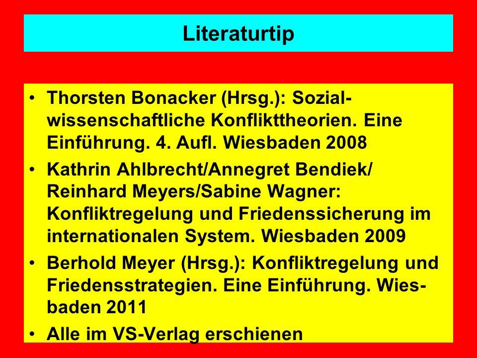 Literaturtip Thorsten Bonacker (Hrsg.): Sozial-wissenschaftliche Konflikttheorien. Eine Einführung. 4. Aufl. Wiesbaden 2008.