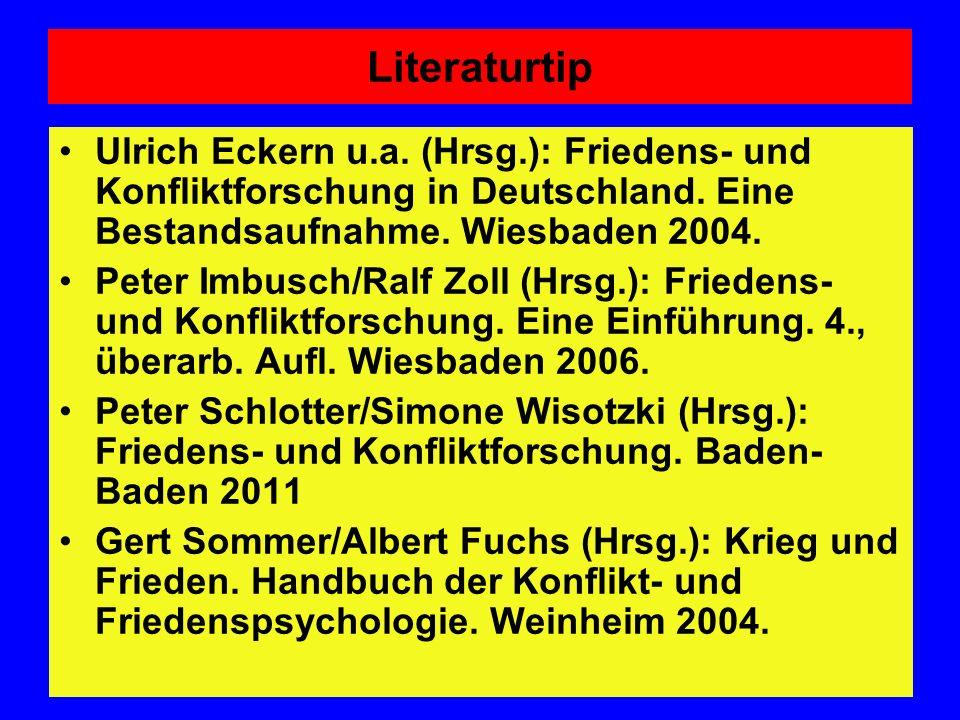 Literaturtip Ulrich Eckern u.a. (Hrsg.): Friedens- und Konfliktforschung in Deutschland. Eine Bestandsaufnahme. Wiesbaden 2004.
