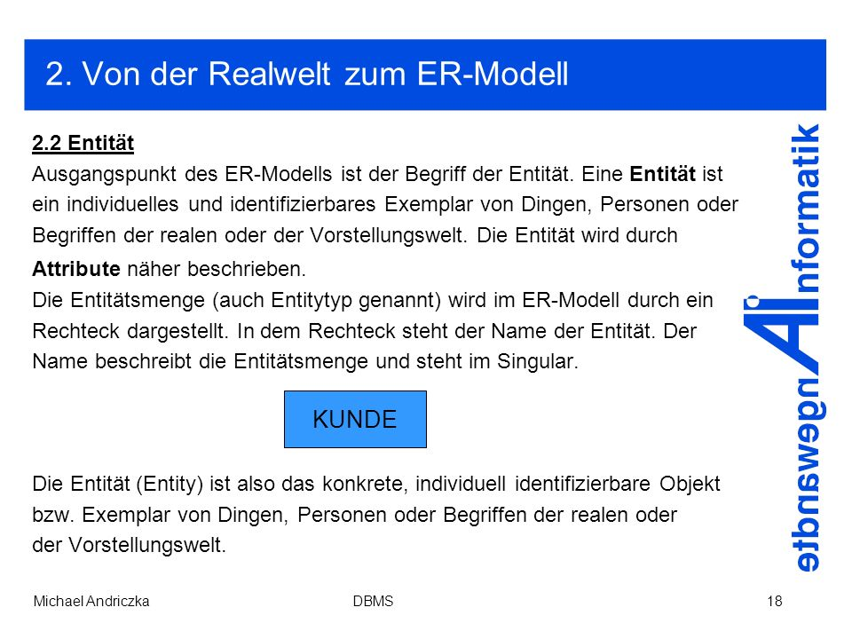 2. Von der Realwelt zum ER-Modell