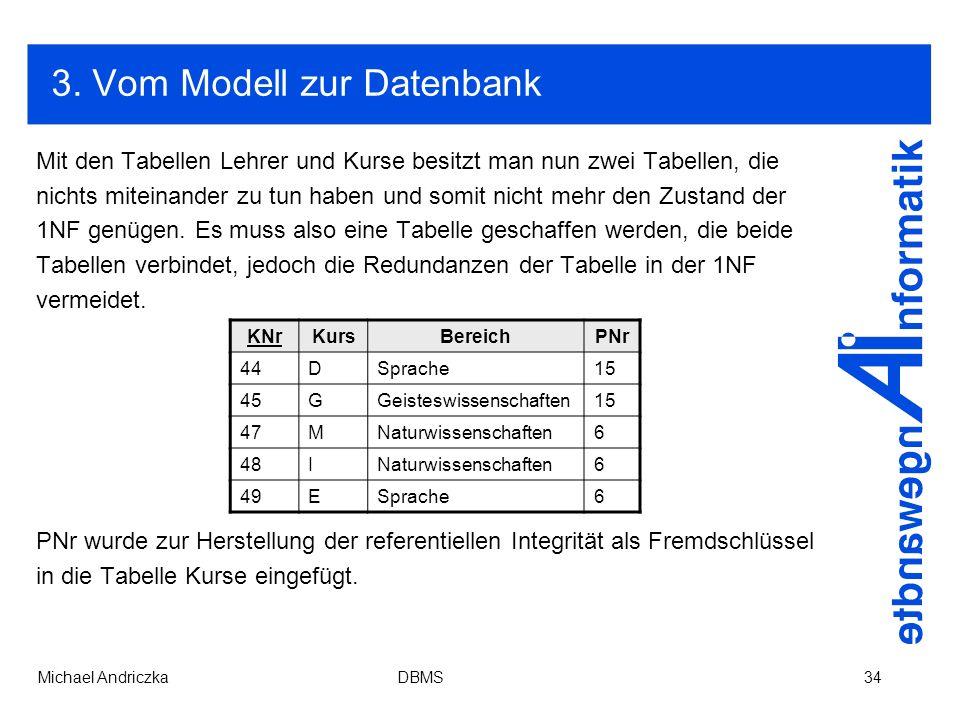 3. Vom Modell zur Datenbank