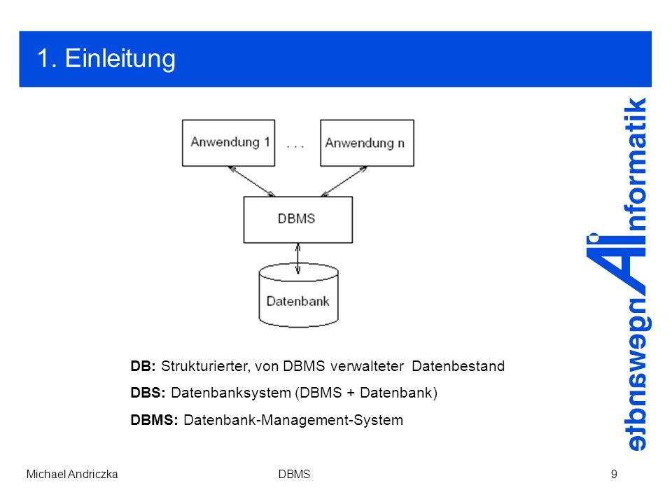 1. Einleitung DB: Strukturierter, von DBMS verwalteter Datenbestand
