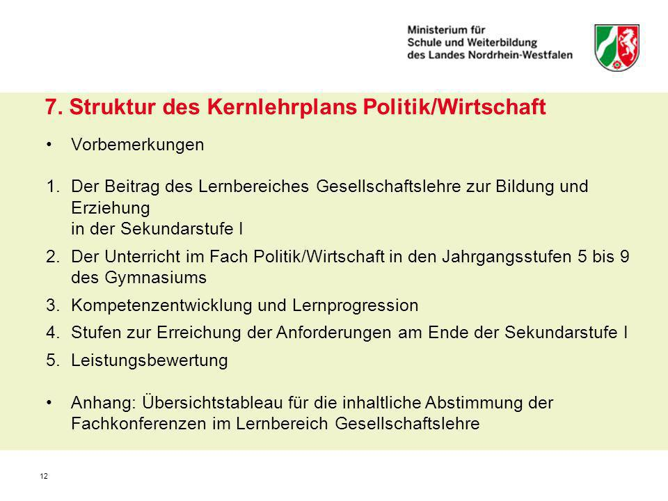 7. Struktur des Kernlehrplans Politik/Wirtschaft